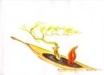 perahu pembawa tanaman dan api