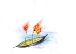 terbakar di atas perahu